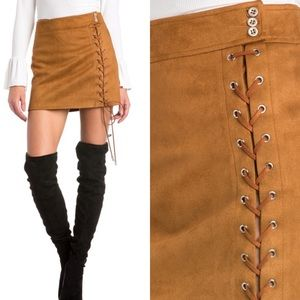 Dresses & Skirts - NEW IN! 🌹 Vegan Suede Lace Up Camel Mini Skirt